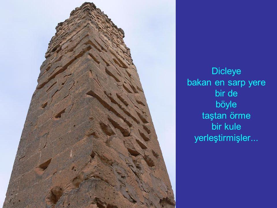 Dicleye bakan en sarp yere bir de böyle taştan örme bir kule yerleştirmişler...
