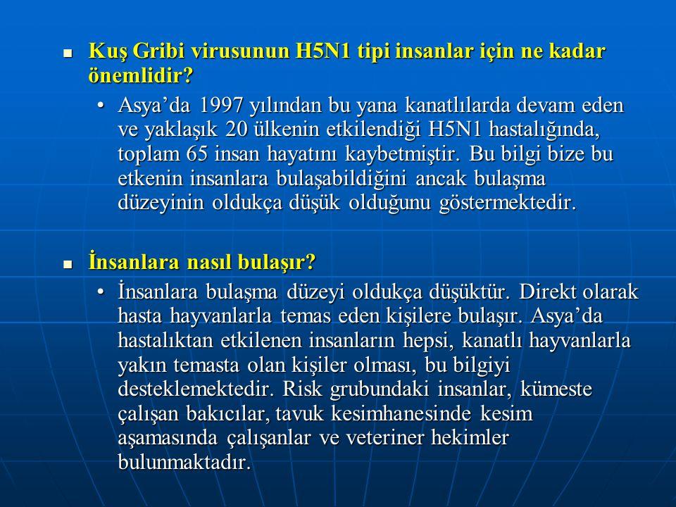  Kuş Gribi virusunun H5N1 tipi insanlar için ne kadar önemlidir? •Asya'da 1997 yılından bu yana kanatlılarda devam eden ve yaklaşık 20 ülkenin etkile