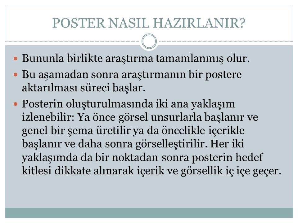 POSTER NASIL HAZIRLANIR?  Bununla birlikte araştırma tamamlanmış olur.  Bu aşamadan sonra araştırmanın bir postere aktarılması süreci başlar.  Post