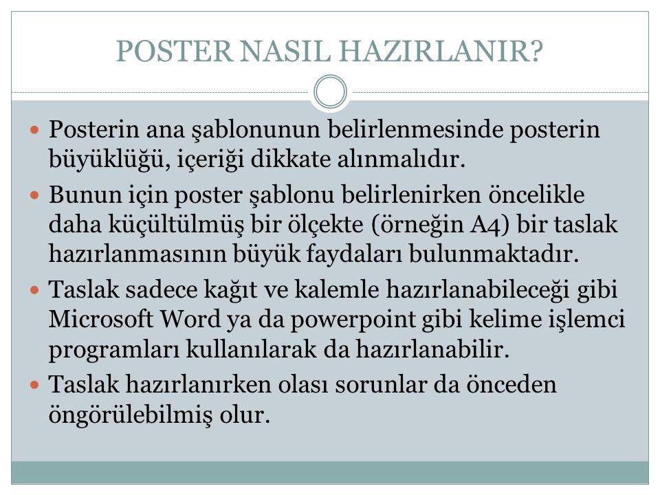  Posterin ana şablonunun belirlenmesinde posterin büyüklüğü, içeriği dikkate alınmalıdır.  Bunun için poster şablonu belirlenirken öncelikle daha kü