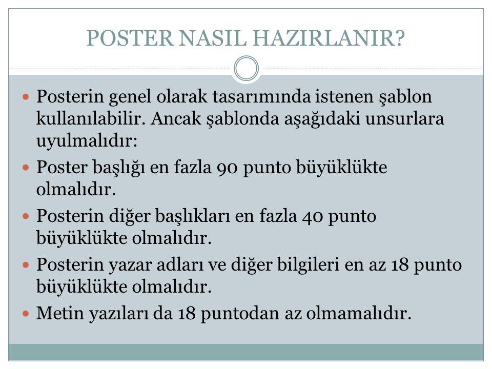 POSTER NASIL HAZIRLANIR?  Posterin genel olarak tasarımında istenen şablon kullanılabilir. Ancak şablonda aşağıdaki unsurlara uyulmalıdır:  Poster b