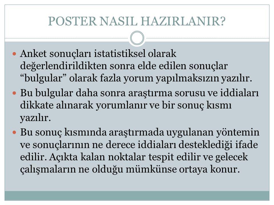 """POSTER NASIL HAZIRLANIR?  Anket sonuçları istatistiksel olarak değerlendirildikten sonra elde edilen sonuçlar """"bulgular"""" olarak fazla yorum yapılmaks"""