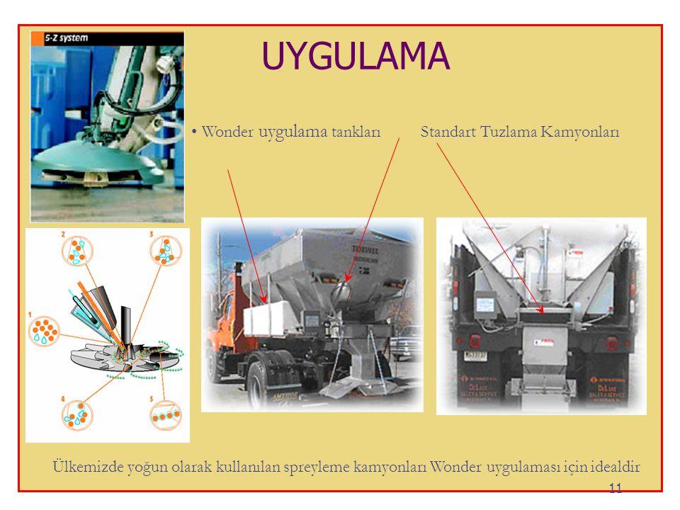 UYGULAMA • Wonder uygulama tankları Standart Tuzlama Kamyonları Ülkemizde yoğun olarak kullanılan spreyleme kamyonları Wonder uygulaması için idealdir