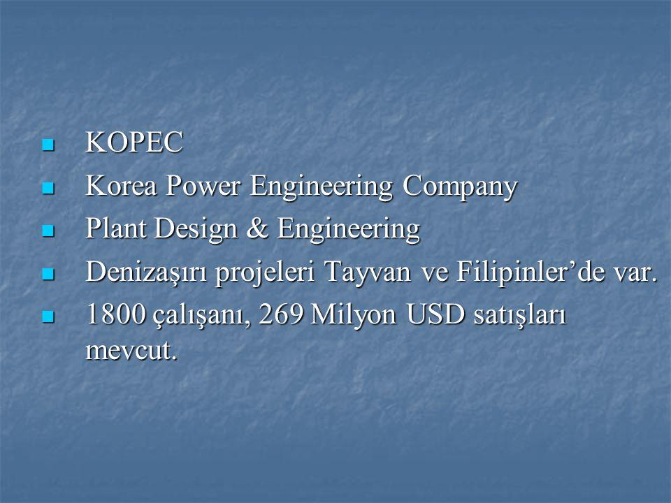  KOPEC  Korea Power Engineering Company  Plant Design & Engineering  Denizaşırı projeleri Tayvan ve Filipinler'de var.  1800 çalışanı, 269 Milyon