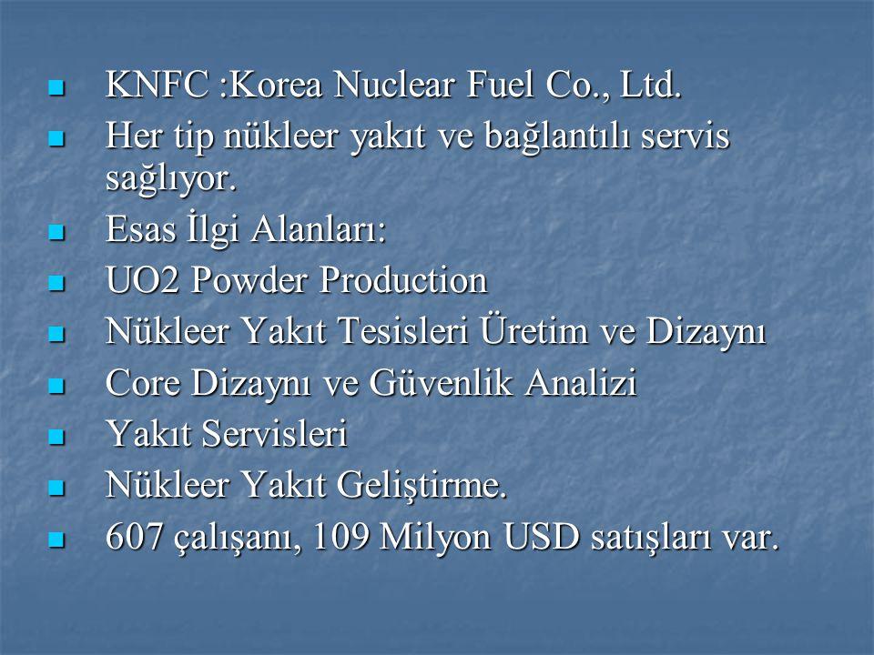  KNFC :Korea Nuclear Fuel Co., Ltd.  Her tip nükleer yakıt ve bağlantılı servis sağlıyor.  Esas İlgi Alanları:  UO2 Powder Production  Nükleer Ya