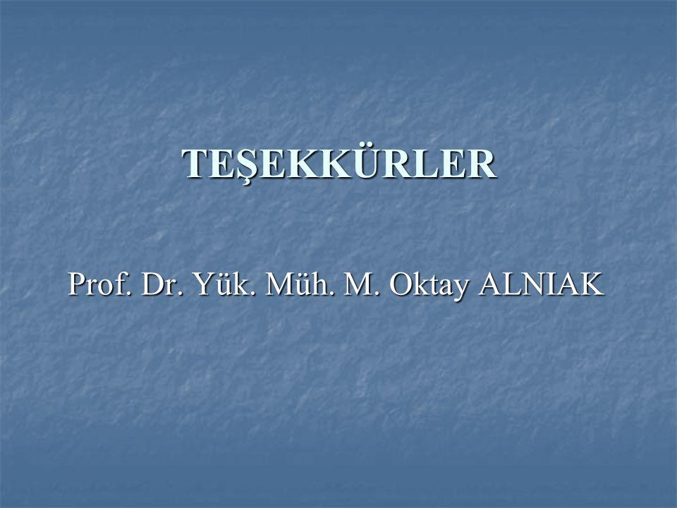 TEŞEKKÜRLER Prof. Dr. Yük. Müh. M. Oktay ALNIAK