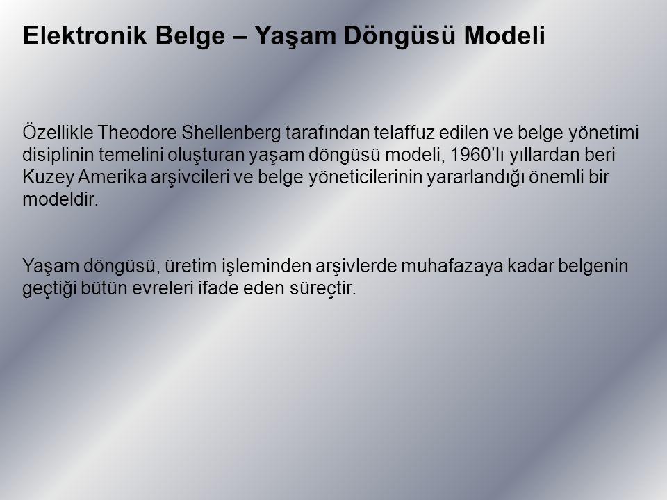 Elektronik Belge – Yaşam Döngüsü Modeli Özellikle Theodore Shellenberg tarafından telaffuz edilen ve belge yönetimi disiplinin temelini oluşturan yaşa