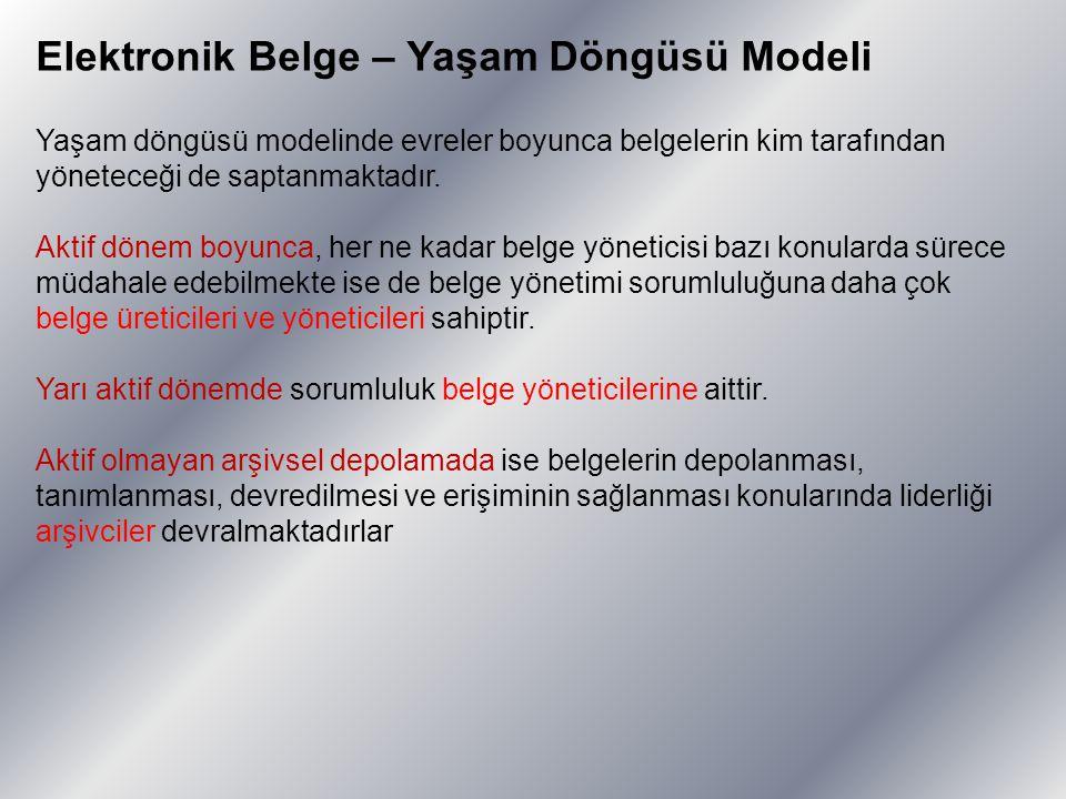 Elektronik Belge – Yaşam Döngüsü Modeli Yaşam döngüsü modelinde evreler boyunca belgelerin kim tarafından yöneteceği de saptanmaktadır. Aktif dönem bo