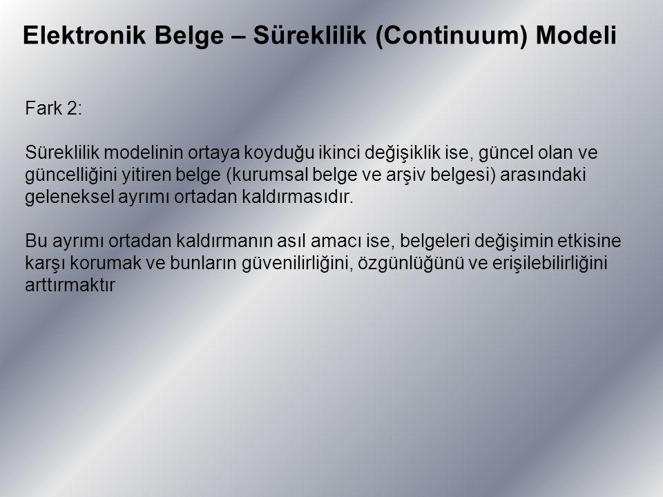 Elektronik Belge – Süreklilik (Continuum) Modeli Fark 2: Süreklilik modelinin ortaya koyduğu ikinci değişiklik ise, güncel olan ve güncelliğini yitire