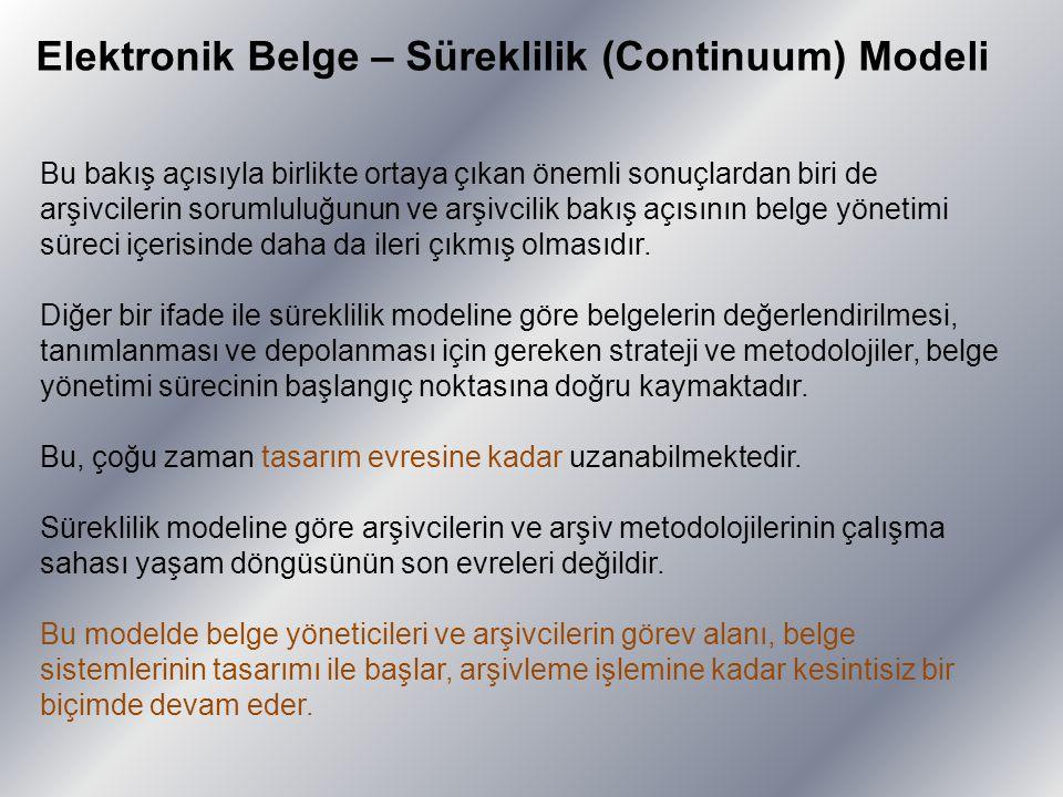 Elektronik Belge – Süreklilik (Continuum) Modeli Bu bakış açısıyla birlikte ortaya çıkan önemli sonuçlardan biri de arşivcilerin sorumluluğunun ve arş