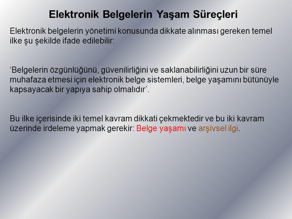 Elektronik Belgelerin Yaşam Süreçleri Elektronik belgelerin yönetimi konusunda dikkate alınması gereken temel ilke şu şekilde ifade edilebilir: 'Belge