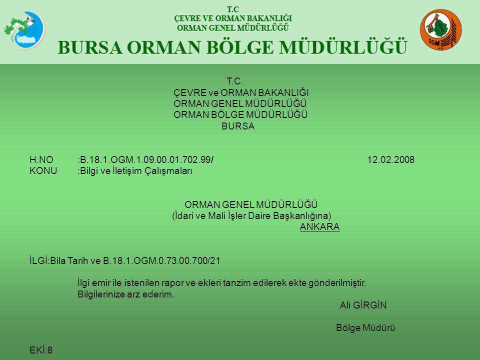 T.C. ÇEVRE ve ORMAN BAKANLIĞI ORMAN GENEL MÜDÜRLÜĞÜ ORMAN BÖLGE MÜDÜRLÜĞÜ BURSA H.NO:B.18.1.OGM.1.09.00.01.702.99/ 12.02.2008 KONU:Bilgi ve İletişim Ç