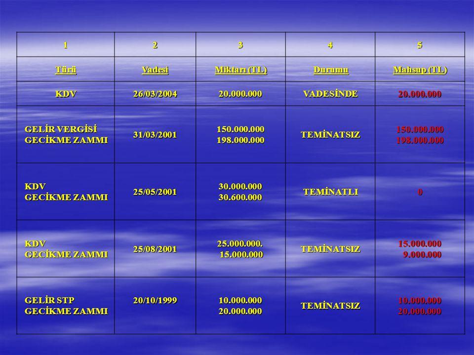 12345 TürüVadesi Miktarı (TL) Durumu Mahsup (TL) KDV26/03/200420.000.000VADESİNDE GELİR VERGİSİ GECİKME ZAMMI 31/03/2001 150.000.000 198.000.000 TEMİN