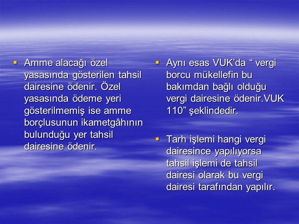 ÖDEME YERİ  Madde 39 – Hususi kanunlarında ödeme yeri gösterilmemiş amme alacakları, borçlunun ikametgahının bulunduğu yer tahsil dairesine ödenir. 