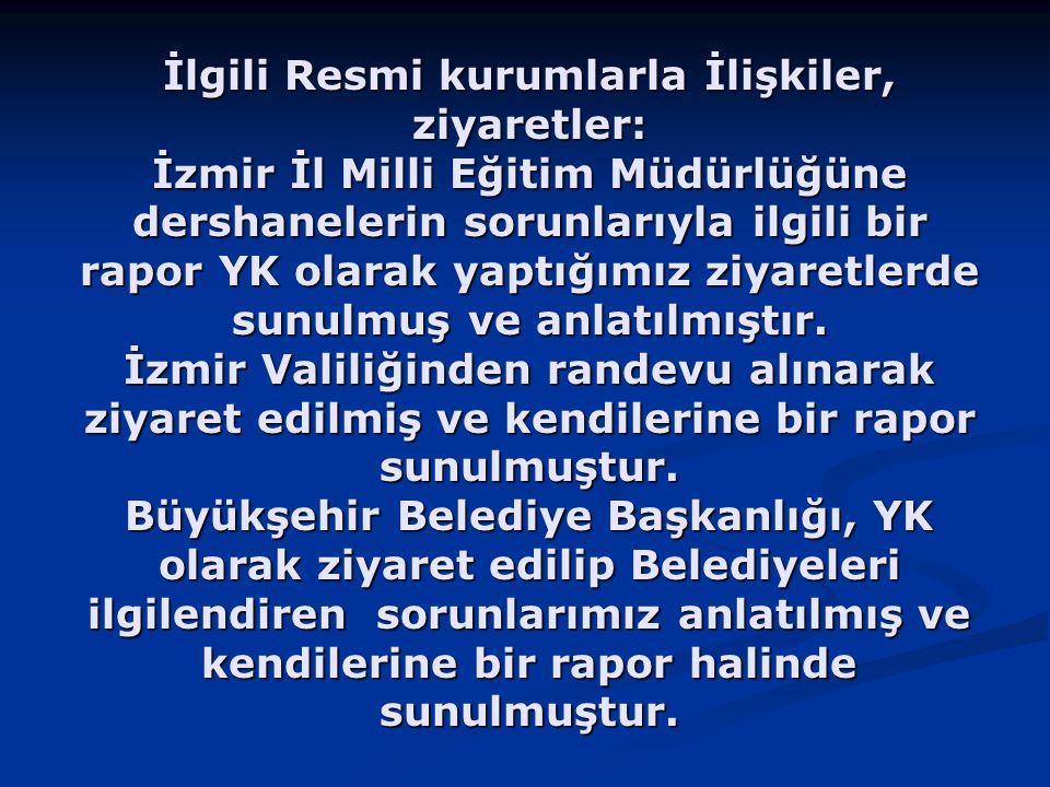 İlgili Resmi kurumlarla İlişkiler, ziyaretler: İzmir İl Milli Eğitim Müdürlüğüne dershanelerin sorunlarıyla ilgili bir rapor YK olarak yaptığımız ziya