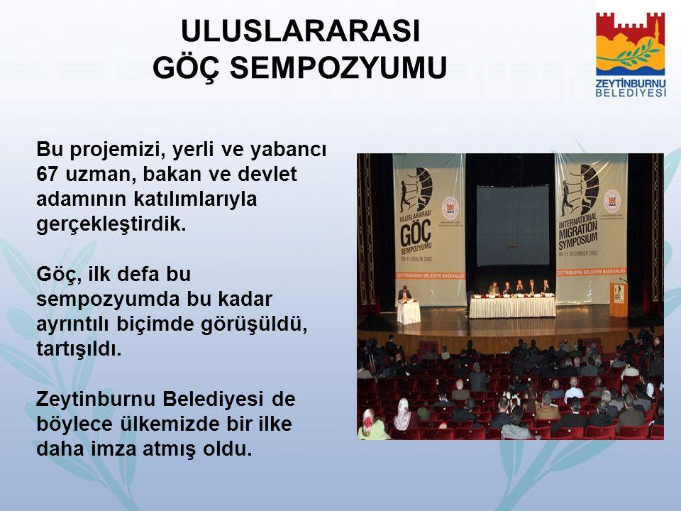 ULUSLARARASI GÖÇ SEMPOZYUMU Bu projemizi, yerli ve yabancı 67 uzman, bakan ve devlet adamının katılımlarıyla gerçekleştirdik. Göç, ilk defa bu sempozy