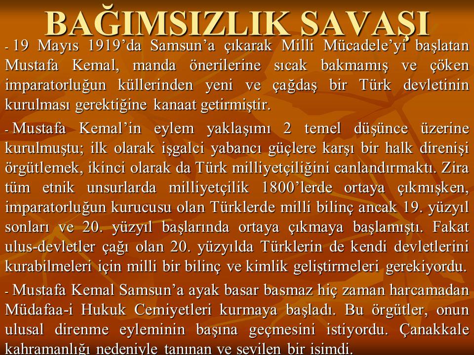 BAĞIMSIZLIK SAVAŞI - 19 Mayıs 1919'da Samsun'a çıkarak Milli Mücadele'yi başlatan Mustafa Kemal, manda önerilerine sıcak bakmamış ve çöken imparatorlu
