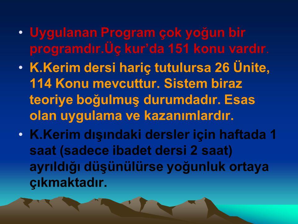 •Uygulanan Program çok yoğun bir programdır.Üç kur'da 151 konu vardır. •K.Kerim dersi hariç tutulursa 26 Ünite, 114 Konu mevcuttur. Sistem biraz teori