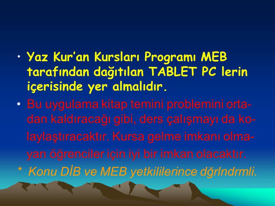 •Yaz Kur'an Kursları Programı MEB tarafından dağıtılan TABLET PC lerin içerisinde yer almalıdır. •Bu uygulama kitap temini problemini orta- dan kaldır
