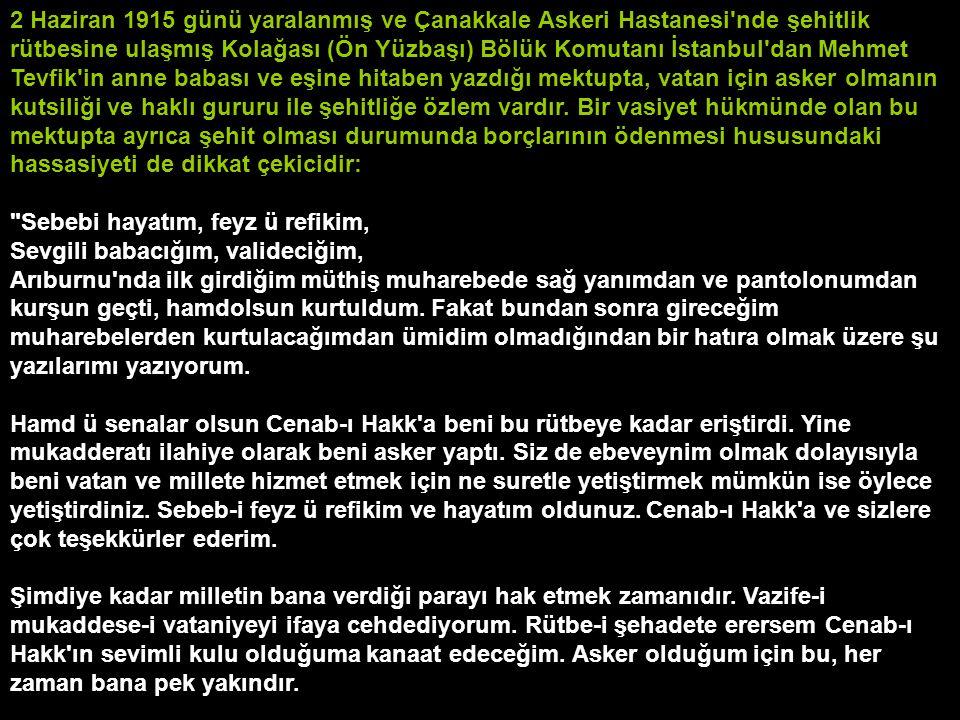 2 Haziran 1915 günü yaralanmış ve Çanakkale Askeri Hastanesi'nde şehitlik rütbesine ulaşmış Kolağası (Ön Yüzbaşı) Bölük Komutanı İstanbul'dan Mehmet T