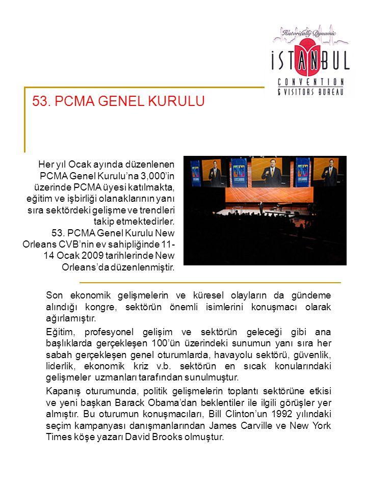 53. PCMA GENEL KURULU Son ekonomik gelişmelerin ve küresel olayların da gündeme alındığı kongre, sektörün önemli isimlerini konuşmacı olarak ağırlamış