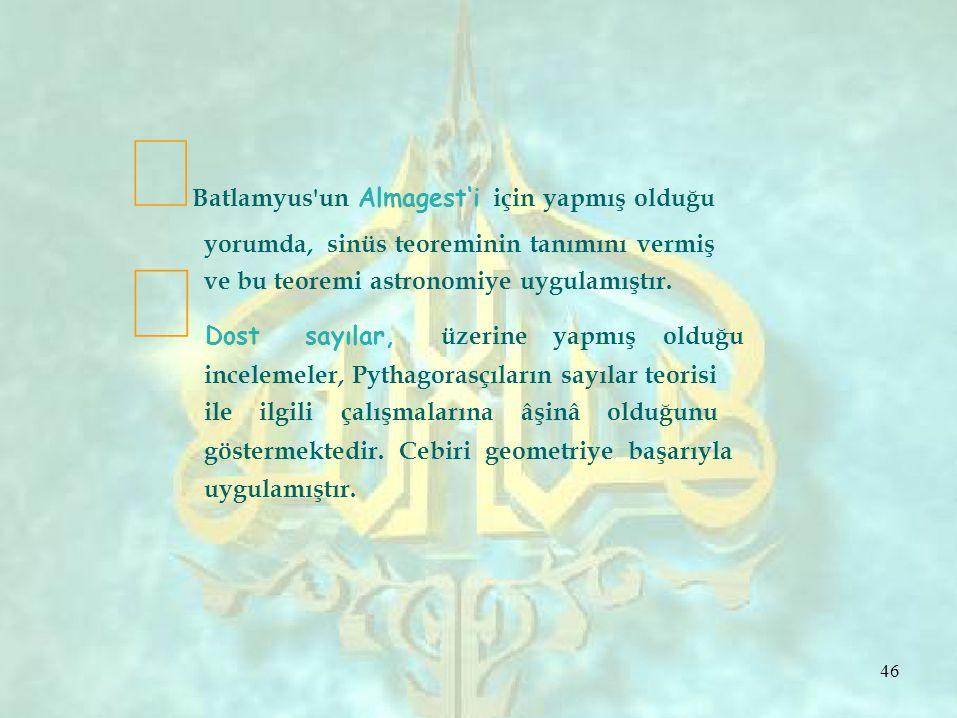 ∞ ∞ Batlamyus un Almagest'i için yapmış olduğu yorumda, sinüs teoreminin tanımını vermiş ve bu teoremi astronomiye uygulamıştır.
