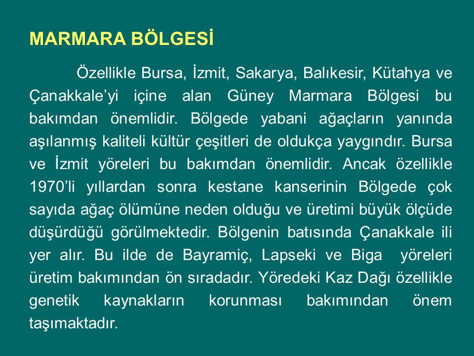 Özellikle Bursa, İzmit, Sakarya, Balıkesir, Kütahya ve Çanakkale'yi içine alan Güney Marmara Bölgesi bu bakımdan önemlidir. Bölgede yabani ağaçların y