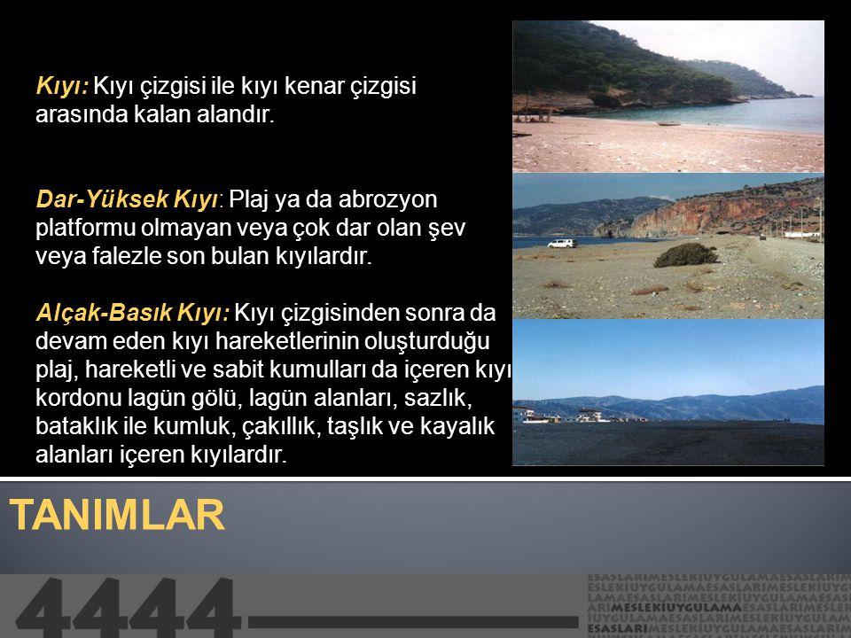 TANIMLAR Sahil Şeridi: Kıyı kenar çizgisinden itibaren kara yönünde yatay olarak en az 100 metre genişliğindeki alandır.