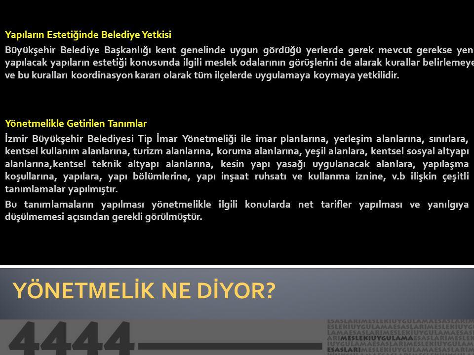 ELEŞTİRİ ve ÇÖZÜM İzmir Büyükşehir Belediyesi Tip İmar Yönetmeliği genel hatlarıyla incelendiğinde; hazırlanan yönetmelikte yapılaşma koşulları, yapılara ilişkin çeşitli ayrıntılarda detaylı bir irdeleme yapıldığı ve bu doğrultuda standartların belirlendiğini görmekteyiz.
