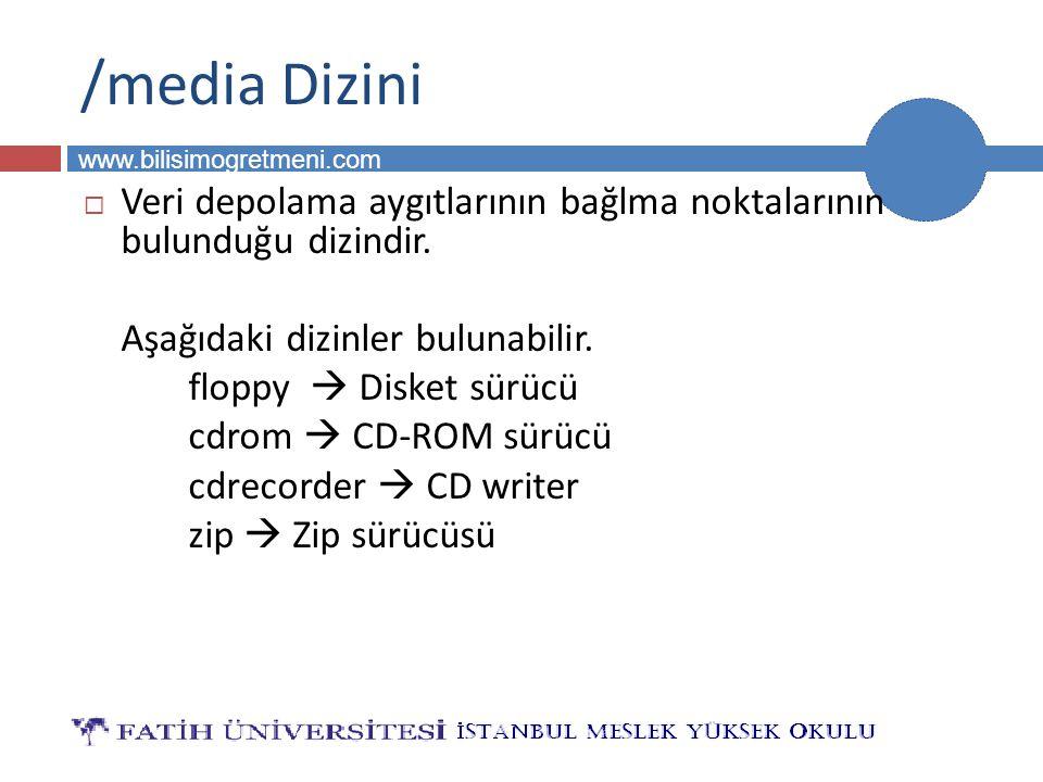 BİLG 231 www.bilisimogretmeni.com /media Dizini  Veri depolama aygıtlarının bağlma noktalarının bulunduğu dizindir. Aşağıdaki dizinler bulunabilir. f