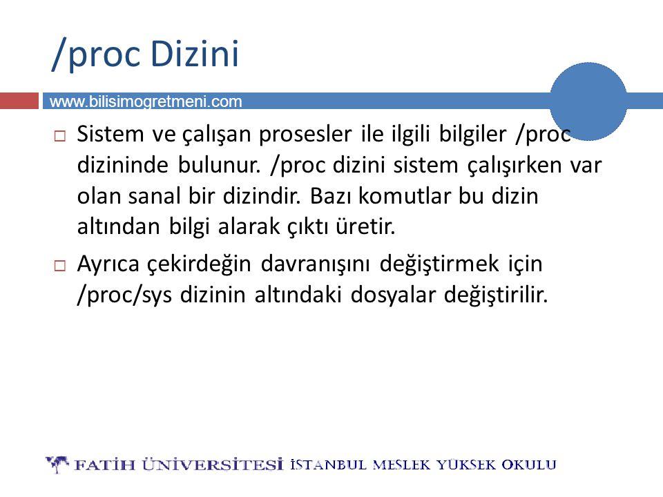 BİLG 231 www.bilisimogretmeni.com /proc Dizini  Sistem ve çalışan prosesler ile ilgili bilgiler /proc dizininde bulunur. /proc dizini sistem çalışırk