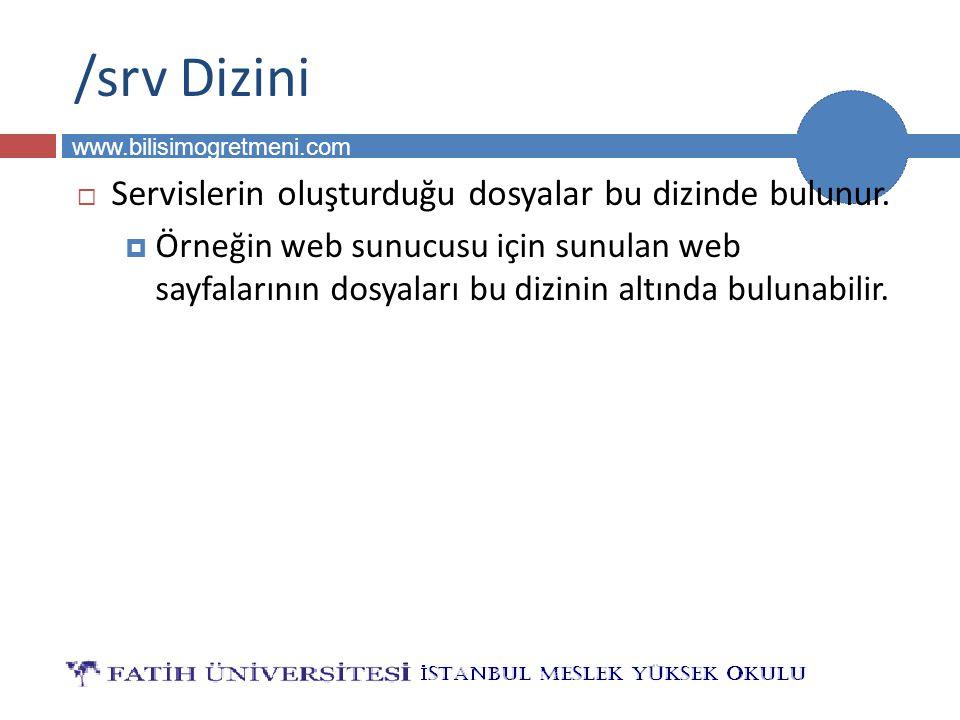 BİLG 231 www.bilisimogretmeni.com /srv Dizini  Servislerin oluşturduğu dosyalar bu dizinde bulunur.  Örneğin web sunucusu için sunulan web sayfaları