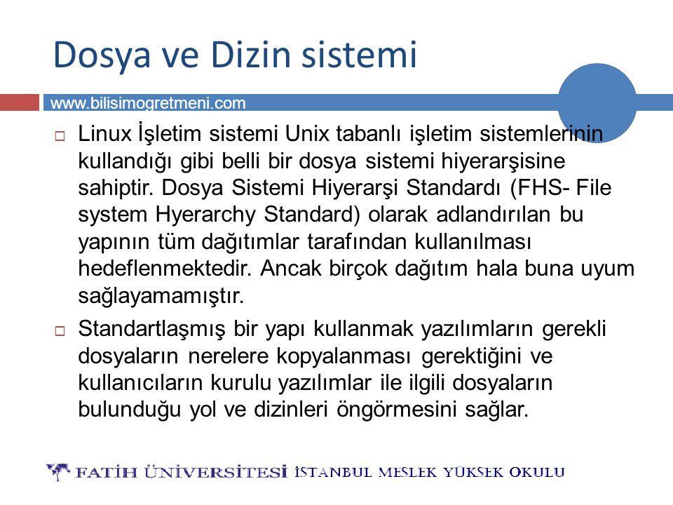 BİLG 231 www.bilisimogretmeni.com /opt Dizini  Sonradan yüklenilen programların dosyalarının bulunması için tasarlanmış dizindir.