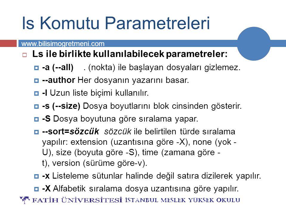 BİLG 231 www.bilisimogretmeni.com ls Komutu Parametreleri  Ls ile birlikte kullanılabilecek parametreler:  -a (--all). (nokta) ile başlayan dosyalar
