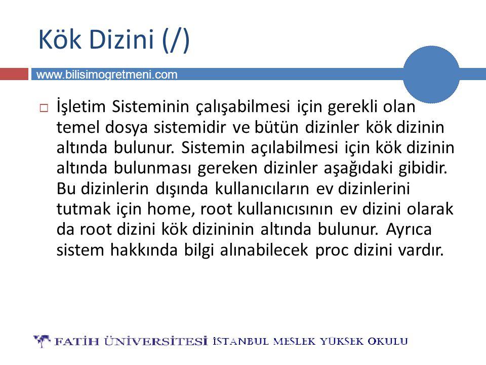 BİLG 231 www.bilisimogretmeni.com Kök Dizini (/)  İşletim Sisteminin çalışabilmesi için gerekli olan temel dosya sistemidir ve bütün dizinler kök diz