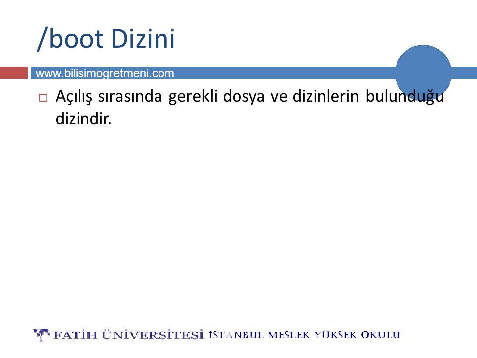 BİLG 231 www.bilisimogretmeni.com /srv Dizini  Servislerin oluşturduğu dosyalar bu dizinde bulunur.