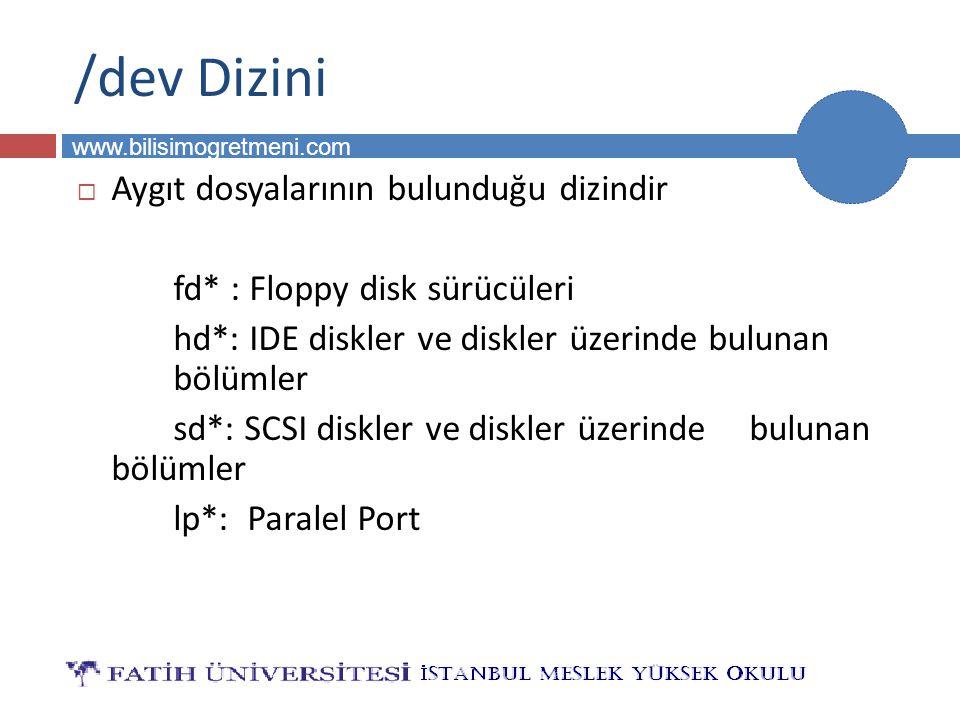 BİLG 231 www.bilisimogretmeni.com /dev Dizini  Aygıt dosyalarının bulunduğu dizindir fd* : Floppy disk sürücüleri hd*: IDE diskler ve diskler üzerind