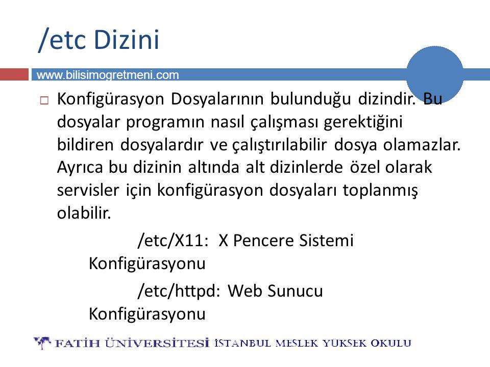 BİLG 231 www.bilisimogretmeni.com /etc Dizini  Konfigürasyon Dosyalarının bulunduğu dizindir. Bu dosyalar programın nasıl çalışması gerektiğini bildi