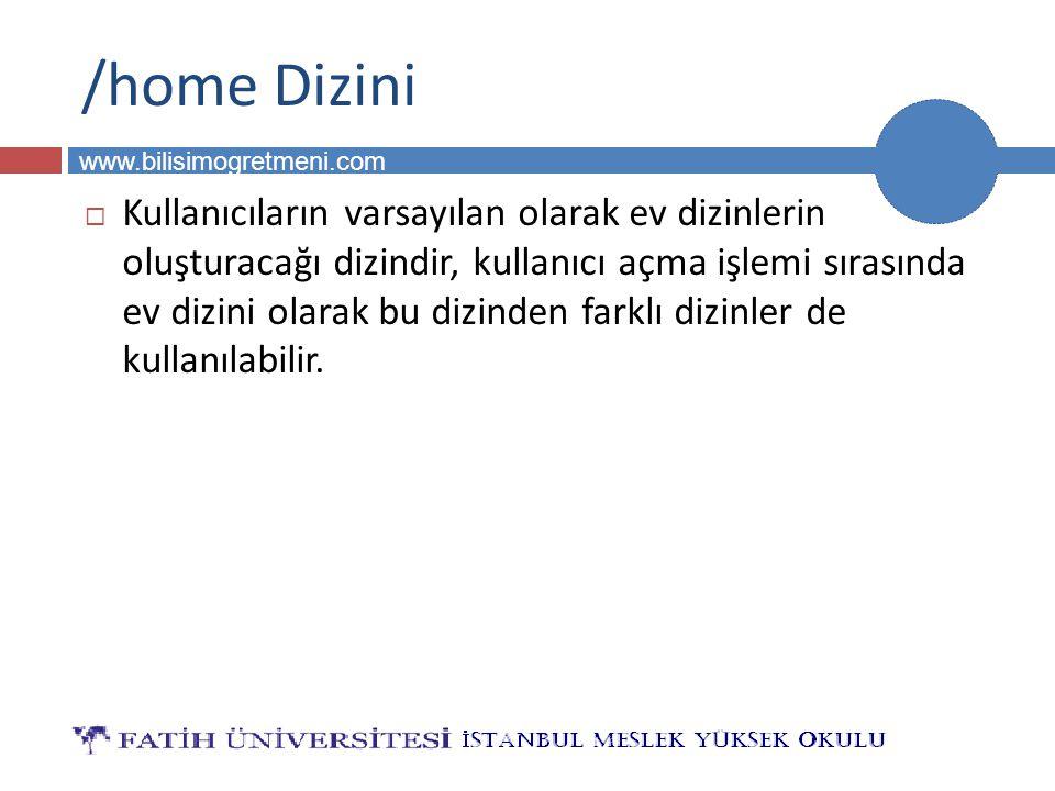 BİLG 231 www.bilisimogretmeni.com /home Dizini  Kullanıcıların varsayılan olarak ev dizinlerin oluşturacağı dizindir, kullanıcı açma işlemi sırasında