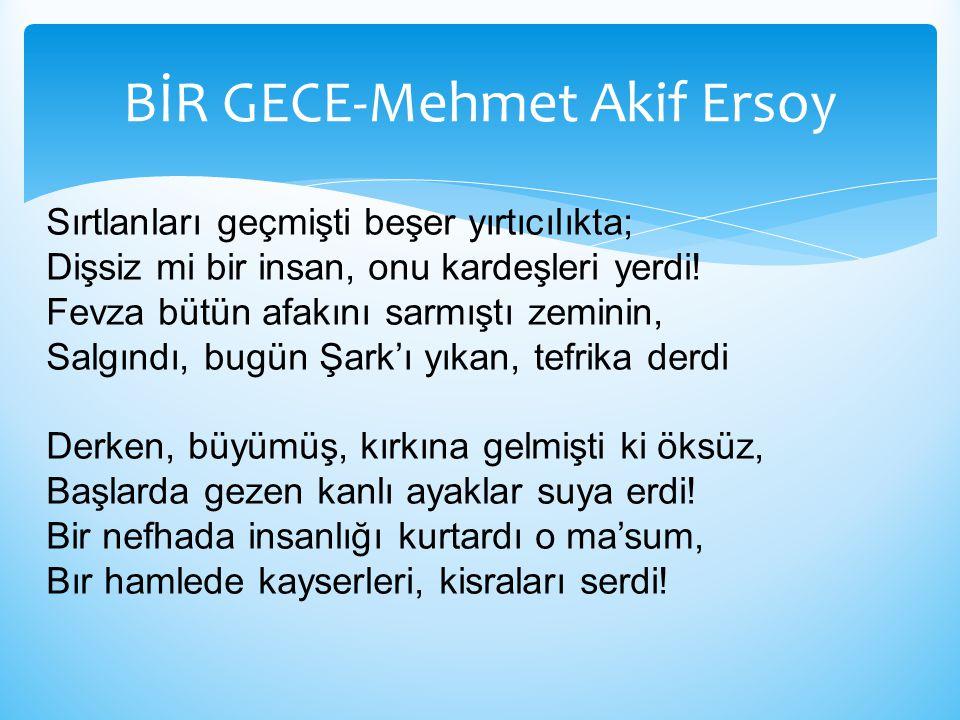 BİR GECE-Mehmet Akif Ersoy Sırtlanları geçmişti beşer yırtıcılıkta; Dişsiz mi bir insan, onu kardeşleri yerdi! Fevza bütün afakını sarmıştı zeminin, S