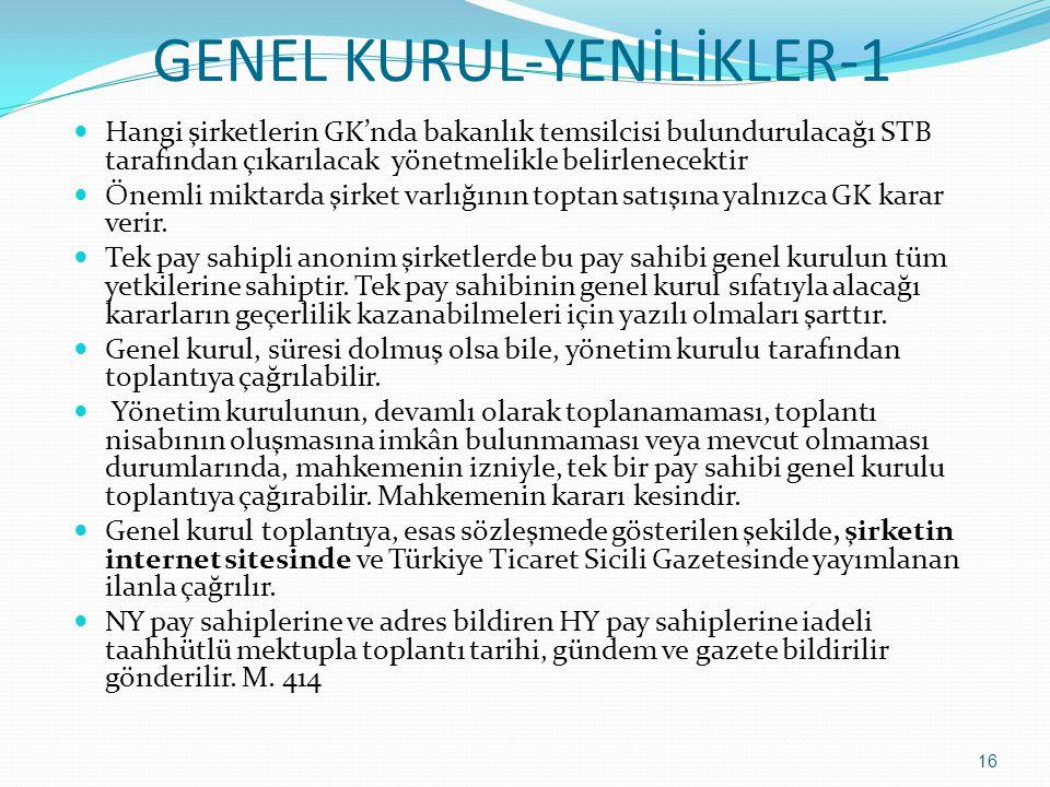 GENEL KURUL-YENİLİKLER-1  Hangi şirketlerin GK'nda bakanlık temsilcisi bulundurulacağı STB tarafından çıkarılacak yönetmelikle belirlenecektir  Önem