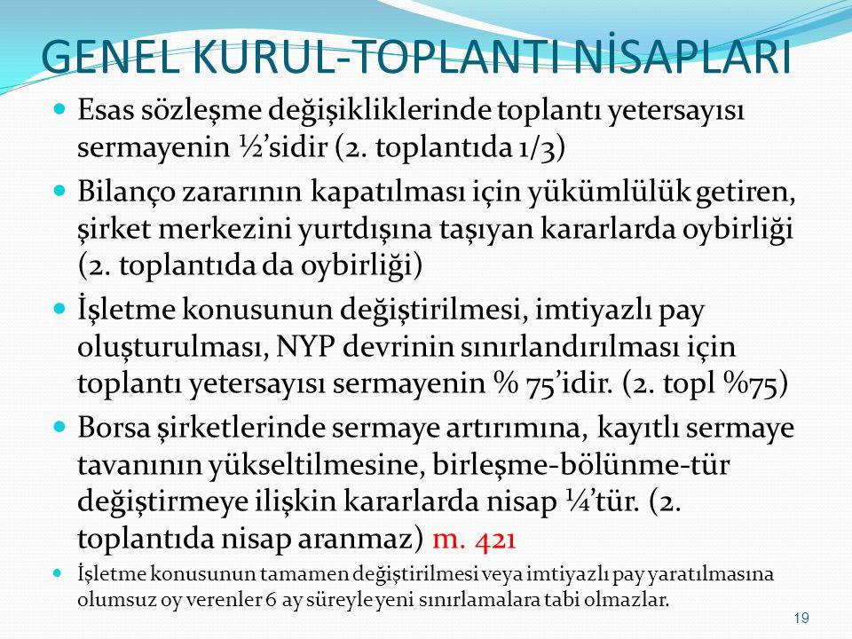 GENEL KURUL-TOPLANTI NİSAPLARI  Esas sözleşme değişikliklerinde toplantı yetersayısı sermayenin ½'sidir (2. toplantıda 1/3)  Bilanço zararının kapat