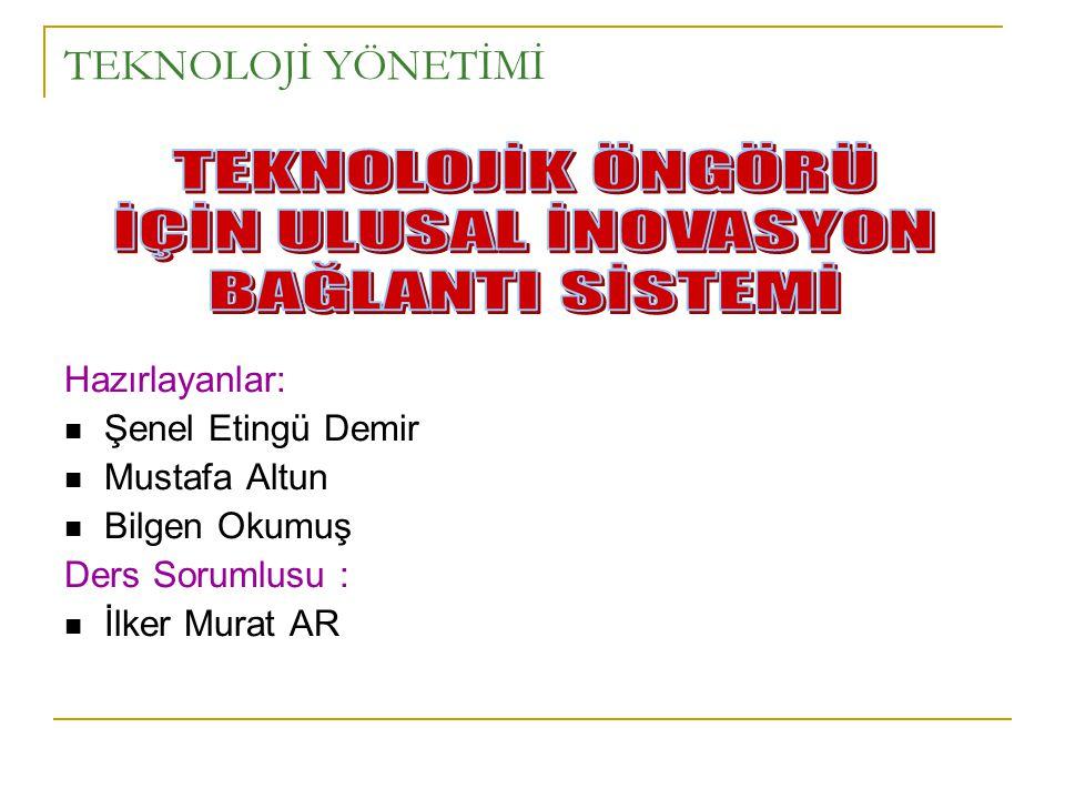 TEKNOLOJİ YÖNETİMİ Hazırlayanlar:  Şenel Etingü Demir  Mustafa Altun  Bilgen Okumuş Ders Sorumlusu :  İlker Murat AR