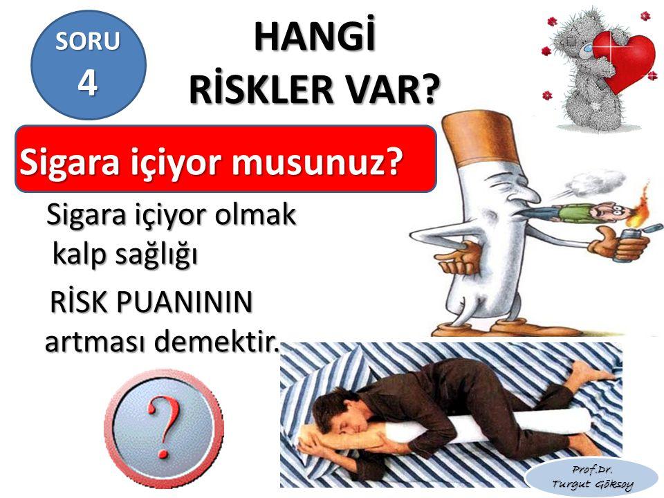 HANGİ RİSKLER VAR? Sigara içiyor musunuz? Sigara içiyor olmak kalp sağlığı Sigara içiyor olmak kalp sağlığı RİSK PUANININ artması demektir. RİSK PUANI