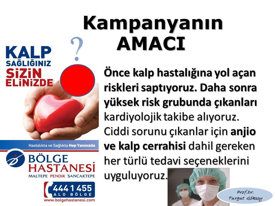 Kampanyanın AMACI Önce kalp hastalığına yol açan riskleri saptıyoruz. Daha sonra yüksek risk grubunda çıkanları kardiyolojik takibe alıyoruz. Ciddi so