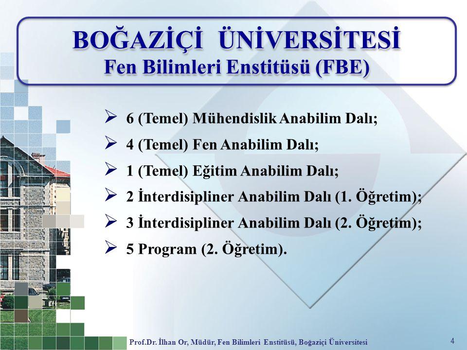 4 BOĞAZİÇİ ÜNİVERSİTESİ Fen Bilimleri Enstitüsü (FBE) BOĞAZİÇİ ÜNİVERSİTESİ Fen Bilimleri Enstitüsü (FBE)  6 (Temel) Mühendislik Anabilim Dalı;  4 (Temel) Fen Anabilim Dalı;  1 (Temel) Eğitim Anabilim Dalı;  2 İnterdisipliner Anabilim Dalı (1.