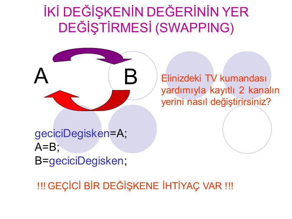 geciciDegisken=A; A=B; B=geciciDegisken; A B !!! GEÇİCİ BİR DEĞİŞKENE İHTİYAÇ VAR !!! Elinizdeki TV kumandası yardımıyla kayıtlı 2 kanalın yerini nası