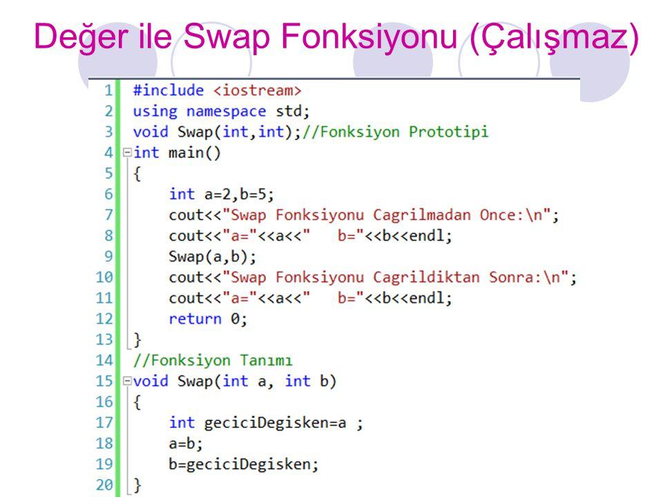 Değer ile Swap Fonksiyonu (Çalışmaz)
