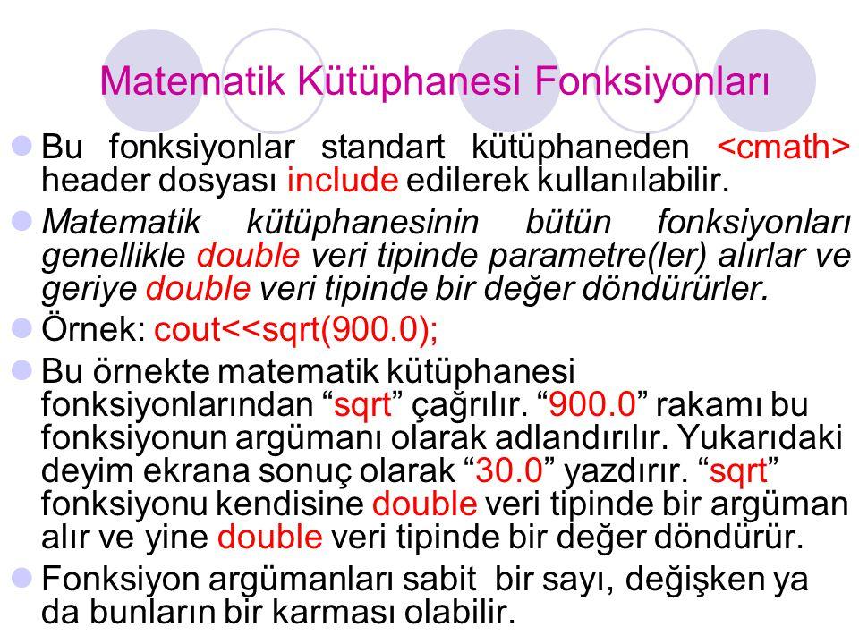 Matematik Kütüphanesi Fonksiyonları  Bu fonksiyonlar standart kütüphaneden header dosyası include edilerek kullanılabilir.  Matematik kütüphanesinin