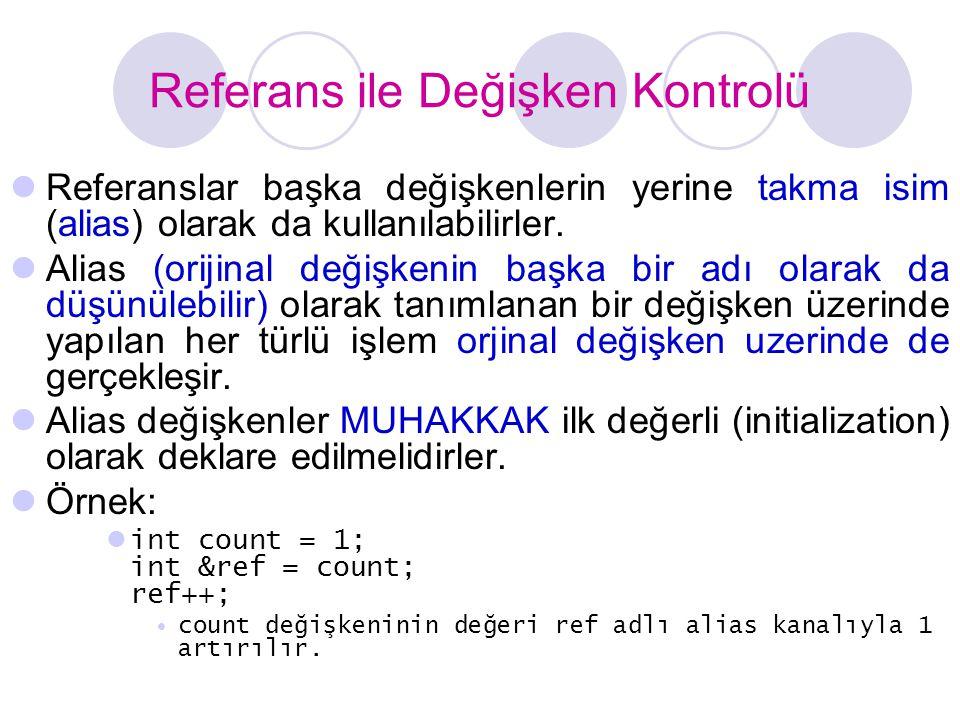 Referans ile Değişken Kontrolü  Referanslar başka değişkenlerin yerine takma isim (alias) olarak da kullanılabilirler.  Alias (orijinal değişkenin b